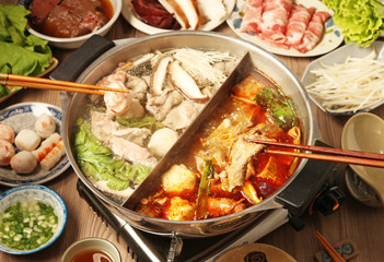 Chinese hot pot meal