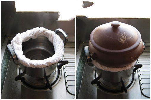Prepare a soup pot. Make sure the diameter is similar to the steampot.